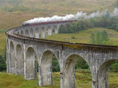 Train Jacobite on Glenfinnan viaduct - Scotland
