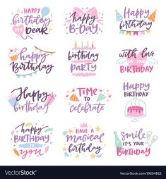 Happy birthday quote anniversary text sign kids birth lettering type with calligraphy letters or textual font for anniversary greeting card to typography illustration isolated on white Happy Anniversary Lettering, Happy Birthday Calligraphy, Happy Anniversary Cakes, Happy Birthday Typography, Anniversary Greeting Cards, Happy Birthday Template, Happy Birthday For Her, Birthday Tags, Happy Birthday Quotes