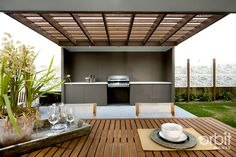 Outdoor living with built in BBQ and outdoor kitchen Wall dividers Outdoor Rooms, Outdoor Gardens, Outdoor Living, Outdoor Decor, Outdoor Kitchens, Parrilla Exterior, Diy Grill, Casas Containers, Built In Grill