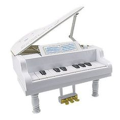 Como children white plastic electronic mini grand piano for Small grand piano size