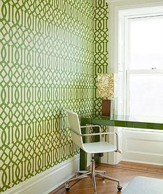 For our entry way - can't decide between raspberry, coral, or green trellis wallpaper!