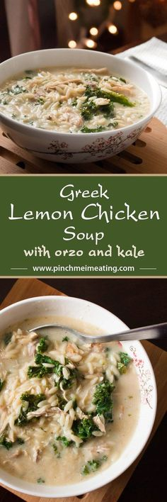 This hearty Greek lemon chicken soup is full of orzo, shredded chicken, and kale, and comes together in only 30 minutes. An easy avgolemono soup recipe! I can't believe how adding eggs to the broth makes it so creamy! Perfect for a quick and easy main course meal in the winter! | http://www.pinchmeimeating.com
