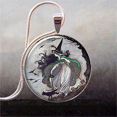Fairytale Witch pendant, witch necklace resin pendant,  witch jewelry, Halloween jewelry. $8.95, via Etsy.