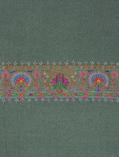 Buy Sea Green Kashmir Pashmina Exquisite Hand Woven Embroidered All-around Border Shawl by Aditi Collection Online at… Kasuti Embroidery, Paisley Embroidery, Chintz Fabric, Cashmere Shawl, Indian Textiles, Gold Earrings Designs, Pashmina Shawl, Texture Design, Hand Stitching