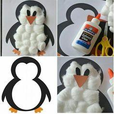 Для поделки Пингвин Вам понадобится: - Цветная бумага - клей - вата   Для начала делаем заготовку, нарисовав например маркером или распеча...
