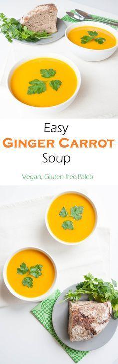 Easy Ginger Carrot Soup Recipe | VeganFamilyRecipes.com | #vegan #glutenfree #paleo #healthy #clean eating