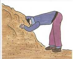 Den Kopf in den Sand stecken = To not want to see something – to try and avoid problems by pretending that they don't exist.