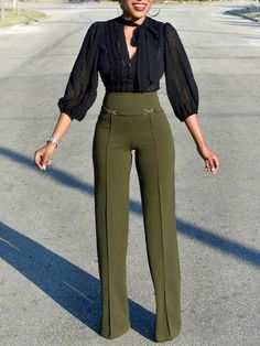 Solid buckle high waist wide leg pants pants in 2019 швейные Stylish Work Outfits, Business Casual Outfits, Classy Outfits, Chic Outfits, Trend Fashion, Look Fashion, Fashion Pants, Fashion Outfits, Women Pants