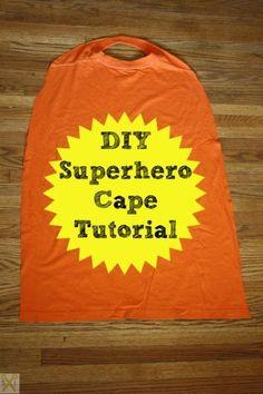 Superhero Cape Tutorial: How to make a superhero cape from a t-shirt. Video tutorial included!