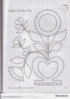 Felt Templates, Applique Templates, Bird Embroidery, Embroidery Designs, Floral Drawing, Flower Template, Antique Quilts, Pattern Blocks, Block Patterns