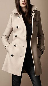 Amazing!!!  Mid-Length Wool Twill Trench Coat - Burberry