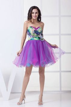 Amazing Style 2013 A Line Sweetheart Tulle Printed Cocktail Dresses £88