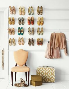 Innovative shoe storage using picture rails (Ikea Ribba picture rail: http://www.ikea.com/us/en/catalog/products/20126065/#/50152595)