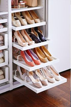 IKEA How-To: Create a wardrobe that's meant for sharing. IKEA How-To: Create a wardrobe that's meant for sharing. Shoe Storage Hacks, Shoe Storage Design, Closet Storage, Storage Racks, Storage Ideas, Shoe Racks, Wardrobe Storage, Garage Storage, Craft Storage