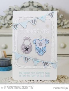 Welcome, Baby Stamp Set, Bundle of Baby Clothes Die-namics, Party Banners Die-namics, Single Stitch Line Rounded Rectangle Frames Die-namics - Melissa Phillips  #mftstamps