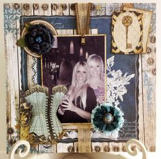 Scrapbook layout using Bo Bunny's Somewhere in Time collection.  Http://www.keepsakesinthemaking.blogspot.co.uk