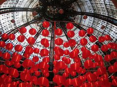 Paris Photography Red Balloons in Paris Galleries Lafayette Ceiling Red Lanterns paris home decor France red wall art USD) by rebeccaplotnick