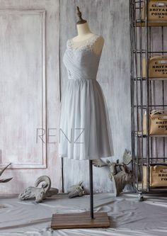 2016 Grey Bridesmaid Dress Chiffon Cocktail Dress A by RenzRags