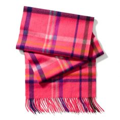 The Cashmere Tattersall Scarf from Coach  -  PINK SCARLET.     lj