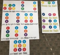 """Hand bell charts for """"Choose the Right"""""""
