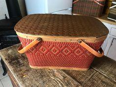 Vintage Picnic Basket, Picnic Baskets, Vintage Baskets, Kitchen Items, Kitchen Storage, Christmas Baskets, Office Items, Antique Stores, Cribs