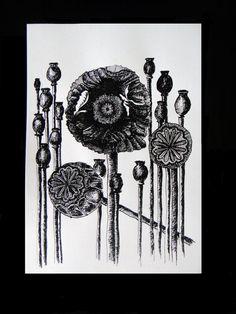 Poppies, original China Ink drawing, Modern Art, Black and White