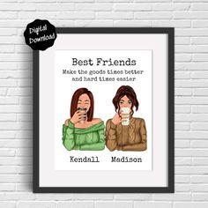 Gifts For Friends, Best Friends, Bestie Gifts, Gifts For Family, Best Friend Birthday, Sister Birthday, Friendship Gifts, Friendship Quotes, Personalized Wall Decor