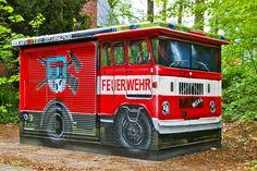 Art-EFX-Substation as Mini Fire Truck in Kleinmachnow,  #artefx, #murals, #muralpainting, #streetart, #graffitiauftrag, #substation, #illusionsmalerei, #firetruck, #firefighter, #feuerwehr, #kleinmachnow