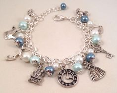 Disney Cinderella Inspired Charm Bracelet - Blue Beaded
