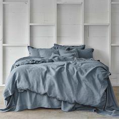 Genial Pure Linen Bed Sheet Set In Aegean Blue