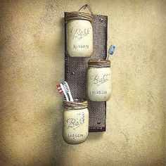 Mason Jar Decor , Pallet Wood , Rustic Cottage Storage , Three Wall Sconce , Rus… - New Design