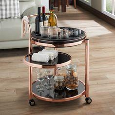 Furniture of America Morgansen Contemporary Serving Cart in Rose Gold Home Decor Kitchen, Kitchen Design, Kitchen Layout, Canto Bar, Rose Gold Kitchen, Copper Kitchen, Art Deco Bar, Gold Bar Cart, Bar Cart Decor