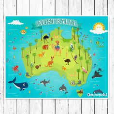 Australia Animal Map Kids Maps Map of Australia by CherimoyaArt