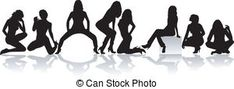 Sexy girls group vector silhouettes