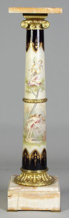 Sevres Style French Hand Painted Porcelain, Brass And Onyx Pedestal    c. 19th Century