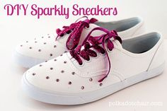 Video tutorial for DIY Sparkle Sneakers. Super easy, just use hot fix crystals to jazz up a plain pair of sneakers.