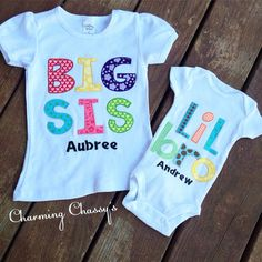 This set is our big sis short sleeved tee and lil bro onesie paired together for the perfect big sister / little brother matching outfits !