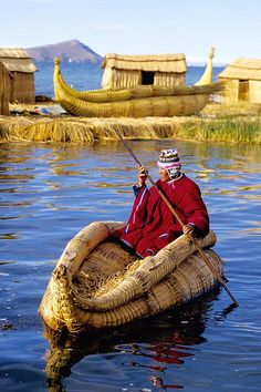 Uros, Lake Titicaca, Peru. Highest navigable lake in the world. The people live here live on floating islands!