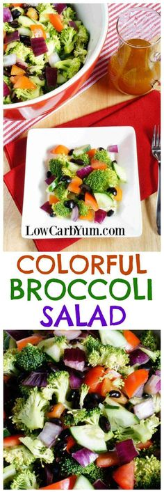 A colorful low carb cucumber broccoli salad made with a variety of different colored vegetables. It's a pretty dish to take along to any potluck. | http://LowCarbYum.com