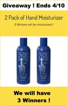 #giveaway of Gloves in a Bottle #Moisturizer, 3 Winners ! Enter now, entries close on April 10th.