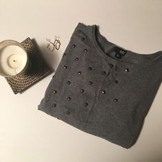 Grey Quarter Sleeve ANA Top Gorgeous ANA top! It has bronze pyramid  embellishments and is in great shape! It is a size medium! a.n.a Tops