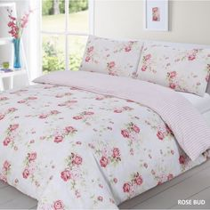 Rose Bud Duvet Cover Quilt Set Pink Double