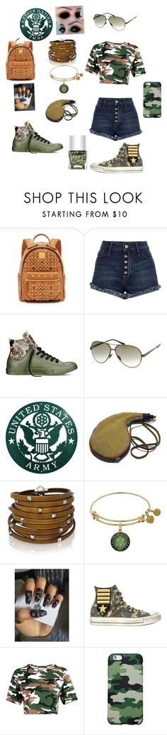 """""""Camo"""" by treelights29 ❤ liked on Polyvore featuring MCM, Converse, Italia Independent, Sif Jakobs Jewellery, Boohoo and Nails Inc."""