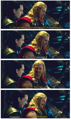 (Thor and Loki) Chris and Tom bloopers Marvel Films, Marvel Memes, Marvel Characters, Marvel Avengers, Marvel Comics, Loki Thor, Tom Hiddleston Loki, Loki Laufeyson, Captain America Films