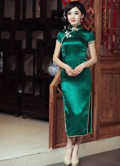 $134.80   Green Silk Long Cheongsam Women's Chinese Vintage Qipao Evening Dress