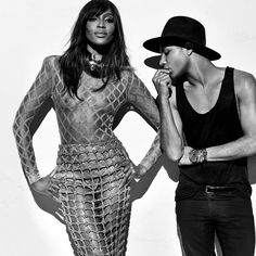 The fabulous Naomi Campbell and designer Olivier Rousteing behind the scenes of Balmain's Spring campaign shoot.