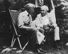 Thomas #Edison relaxes with Henry #Ford during one of their famous camping trips around 1920.
