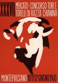 La pubblicità del mercato-concorso dei tori a Montepulciano  Cartolina colore - disegno, 06-1960