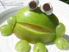 F is for Fanciful, Fairy-tale Frogs: This snack made out of apples, grapes, marshmallows, & chocolate chips will make your lips pucker up. Happy snack ever after!