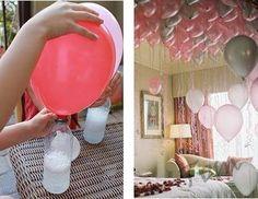 • 1 garrafa de litro de plástico, • Balões (já cheio e esvaziado) • 1 colher de chá de bicarbonato de sódio, para encher mais o balão aumente as quantidades proporcionalmente... cuidado se for de mais para o seu balão o inevitável acontece... ele arrebenta, • 3 colheres de sopa de vinagre Como fazer: 1. Coloque o bicarbonato de sódio na garrafa. 2. Coloque o vinagre no balão. 3. Prenda a ponta aberta do balão à boca da garrafa. 4. Levante o balão para deixar o vinagre cair dentro da garrafa.
